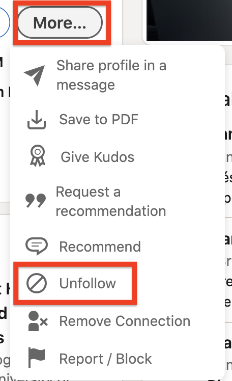 Relevant LinkedIn network - Clean network by unfollowing connections